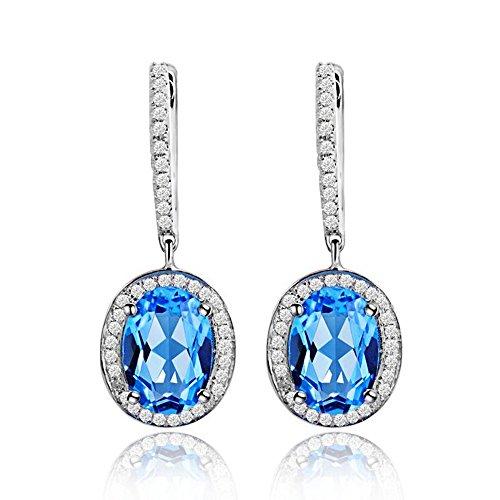 - Lanmi 14k White Rose Yellow Gold Natural Emerald Sapphire Tourmaline Ruby Tsavorite Topaz Drop Dangle Earrings for Women Girls