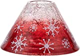 Pavilion Gift Company Snowflake Patterned Ombre Red Crackled Glass 22 Oz Jar Candle Shade Large