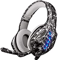 Gaming Headset, Moimhear PS4 Headset RGB LED Licht Crystal Clarity mit Mic PC Headset Gaming Kopfhörer für PC Xbox One...
