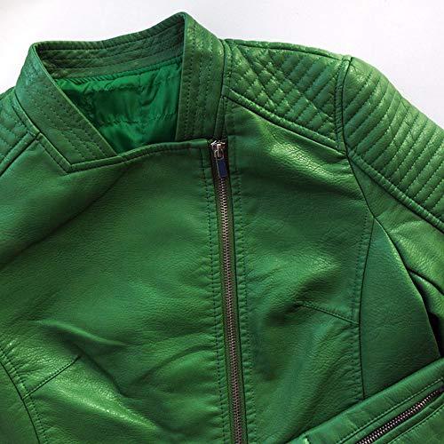 JOJJJOJ Womens Coats Fashion Faux Leather Slim Mandarin Neck Full Sleeves Solid Zipper Sashes Standard Winter Green Moto Chaqueta at Amazon Womens Coats ...