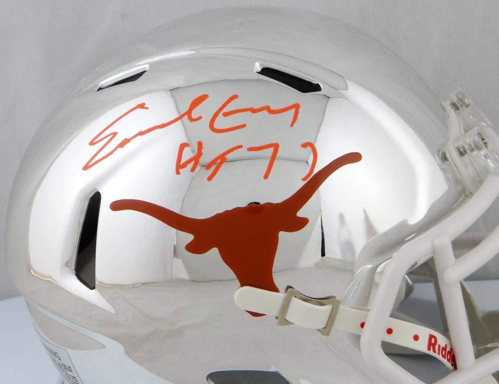 Earl Campbell Autographed Texas Longhorns Chrome Mini Helmet w/HT 77 JSA W Auth Orange