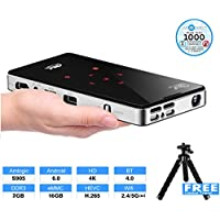 Portable Projector, LiveTV.Direct P9 Touch Key Mini Android 6.0 Smart Projector with Amlogic S905 2.0GHz, Dual Band WIFI, Bluetooth 4.0, 2G RAM, 16G eMMC,Build-in Batteries and LiveTV Services