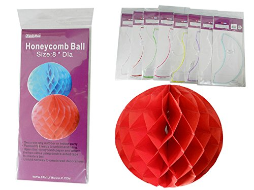 Decorative Honeycomb Ball, 8''Dia Pink, Blue, Green, Red , Case of 144 by DollarItemDirect
