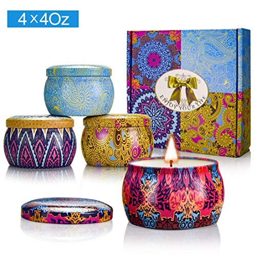 (Y YUEGANG Scented Candles Gift Sets, Natural Soy Wax 4.4 Oz Unit Portable Travel Tin Perfect for Women Aromatherapy Anniversary - 4 Pack)