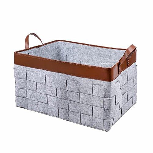 Premium Felt Woven Storage Basket with Leather Trim and Handles | Foldable Box, Durable & Thick Felt, Large Standing Container For Laundry, Bathroom, Baby Toys, Magazines, Food, Closet & More