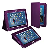 Fosmon Slim Fit Leather Folio Case with Stand for Samsung Galaxy Note 10.1 Tablet - (Purple)