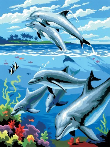 Royal & Langnickel Painting by Numbers Junior Small Art Activity Kit, Dolphins by Royal & Langnickel