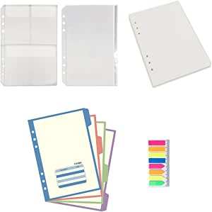 A5 6-Ring Binder/Planner Inserts and Accessories for Filofax, 100 Sheets Dotted Refill Paper, 4 Colorful Index Dividers, 2 Plastic Pouches, 160 Stickers