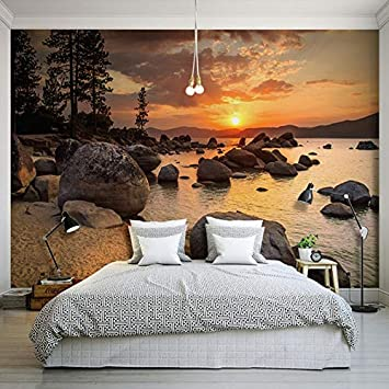 Amazon.com : Custom 3D Bel Tramonto Roccia Mare Paesaggio ...
