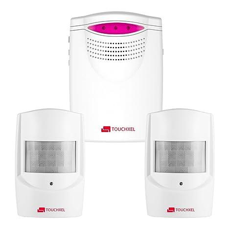 Kit de Seguridad Alarma, TOUCHXEL Sistema de Alarma Antirrobo Inalmbrico Hogar 1 Receptor y 2 Detectores de Sensor de Movimiento PIR Resistentes ...