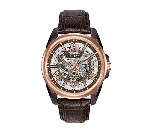 Bulova Men's Rose Goldtone & Brown Leather Automatic Watch