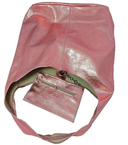 Freyday Damen Ledertasche Shopper Wildleder Handtasche Schultertasche Beuteltasche Metallic look Rosa Metallic cgH1m