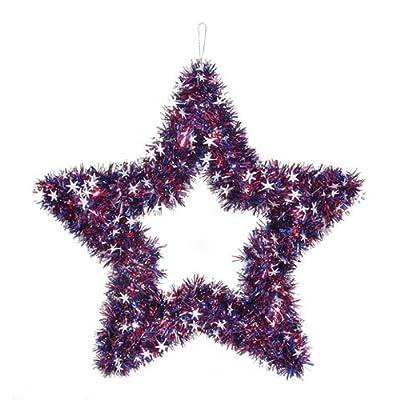 "Darice Patriotic 4th of July Decor - Metallic Tinsel Garland Star 20"" Wreath"