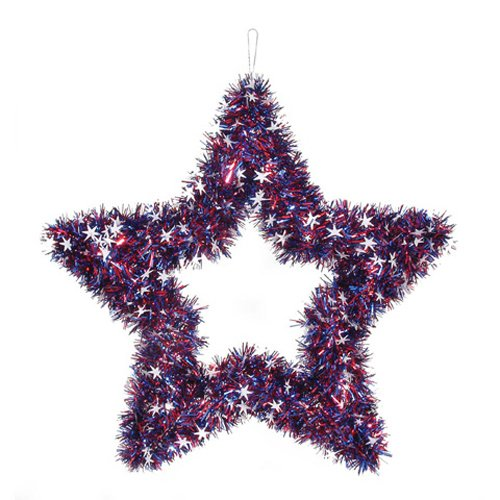 Darice Patriotic 4th of July Decor - Metallic Tinsel Garland Star 20