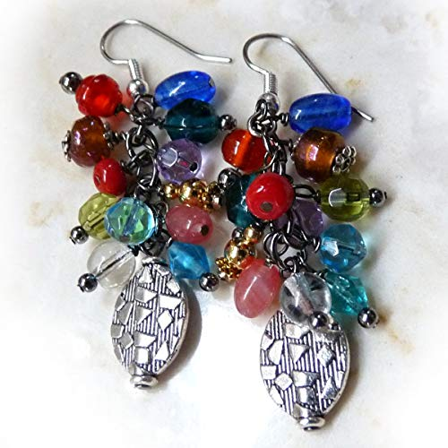 Beaded Dangle Drop Earrings in Jewel Colors - Silver, red, blue, Green, Crystal - Handmade Boho Wire Wrapped Drop Earrings - Gift for Women, Valentine's Day Gift, Mother's Day Gift - Hypoallergenic
