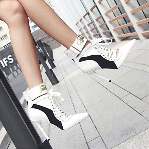 Tribunal 44 NVXIE Femmes Taille Stylet Pointu Strappy Sangle Noir Intelligent Haute EUR42UK85 WHITE Cheville Fête Chaussures Pompes Talon 35 Travail X1Aw1T