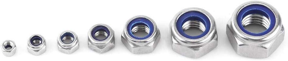 165pcs Durable M3 M4 M5 M6 M8 M10 M12 Stainless Steel Locknut Assortment SS304 Nylon Insert Locknut Kit Lock Nut Set