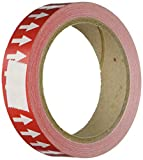 Accuform Signs RAW252RDWT Adhesive Vinyl Directional Flow Arrow Tape, 1'' Width x 54' Length x 0.006'' Thickness, White/Red