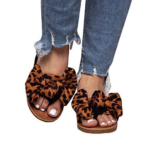 (FISACE Womens Summer Bow Tie Flip Flops Flat Sandals Anti-Slip Summer Beach Thong Slipper (8 M US, Leopard))