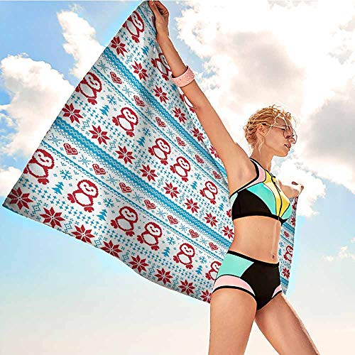 (VonGode Fitness Towel Nordic Ornate Penguins with Hearts Abstract Nature Elements Trees Snowflakes W31 xL63 Bath Sheets Ruby Pale Blue White)
