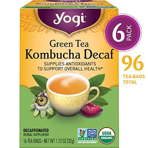 Yogi Tea - Green Tea Kombucha Decaf - Supplies Antioxidants - 6 Pack, 96 Tea Bags (Plum Decaf Tea)