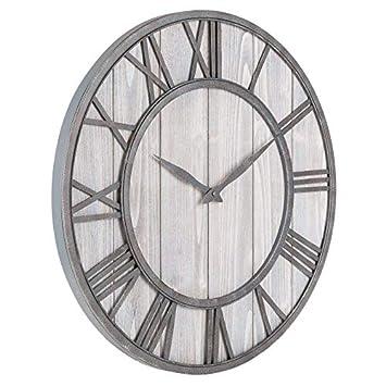 UPTOP Farmhouse Metal Solid Wood Noiseless Wall Clock Whitewash, 16 inch