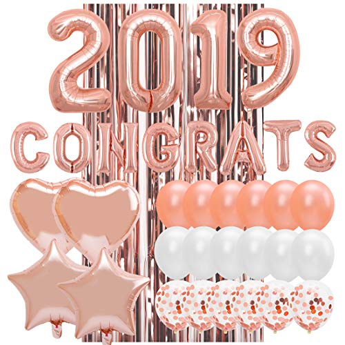 2019 Rose Gold Confetti Balloons Kit - 38Pieces - Large 32 Inch 2019 Balloons - Graduations Party Supplies 2019 - Graduation Decorations (Graduations Balloons)