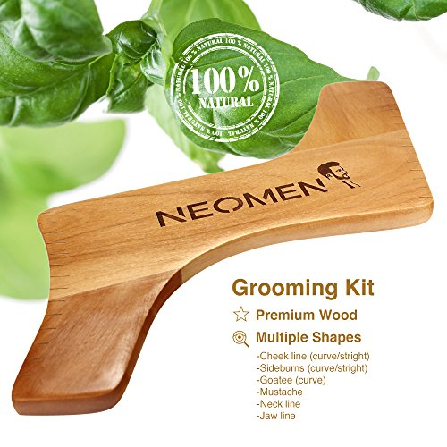 neomen wooden beard grooming kit beard shaping template designed for various beard styles with. Black Bedroom Furniture Sets. Home Design Ideas