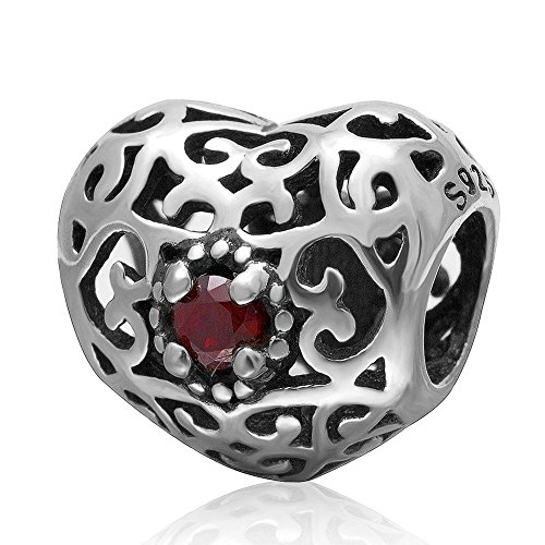 Charmstar January Signature Heart Charm with Garnet Red CZ Stones Authentic Sterling Silver Openwork Love Bead for European Bracelet