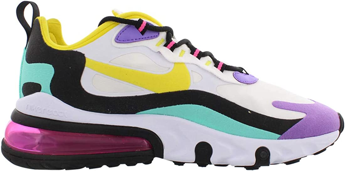 Nike Air Max 270 React Donne Running Trainers At6174 Sneakers Scarpe Bianco Giallo Dinamico Nero