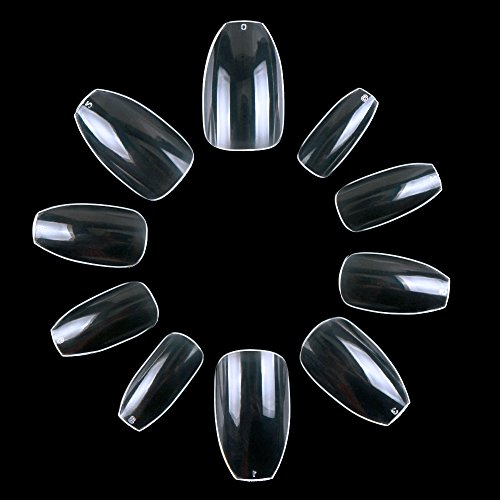ECBASKET Coffin Nails Clear Nail Tips Artificila Nails Short Ballerina Nails For DIY Nail Art 500pcs 10 Sizes