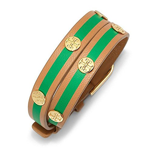Tory Burch Striped Double-Wrap TB Logo Stud Bracelet Aged Vachetta Court Green Tory Gold - Vachetta Green