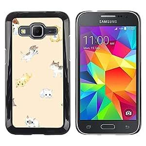 Be Good Phone Accessory // Dura Cáscara cubierta Protectora Caso Carcasa Funda de Protección para Samsung Galaxy Core Prime SM-G360 // cute kittens peach cat yellow kids pet