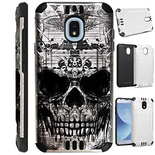 (for Samsung Galaxy J7V J737 (2018) | J7 Aero | J7 Top Star | J7 Refine | J7 Crown | J7 Aura | J7 Eon Case Brushed Metal Texture Hybrid TPU Silver Guard Phone Cover (Gray Evil Skull))