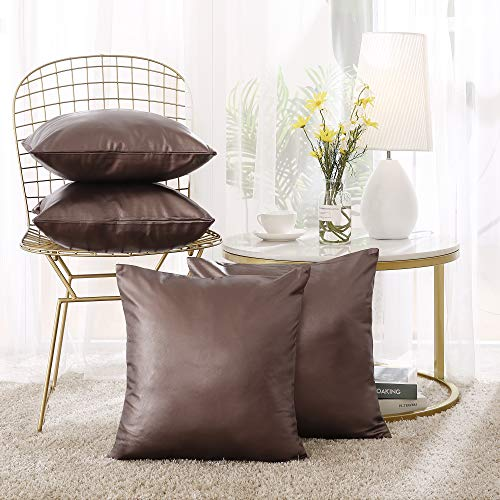 Deconovo Luxurious Faux Leather Throw Pillow Cases Premium Square Cushion Sham Covers for Bed, 18x18 Inch 4 Pieces, Chocolate