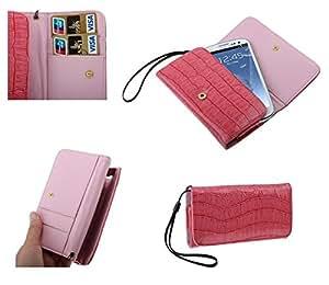 DFV mobile - Funda piel cocodrilo sintetica premium con tarjetero para > kazam tornado 348, color rosa