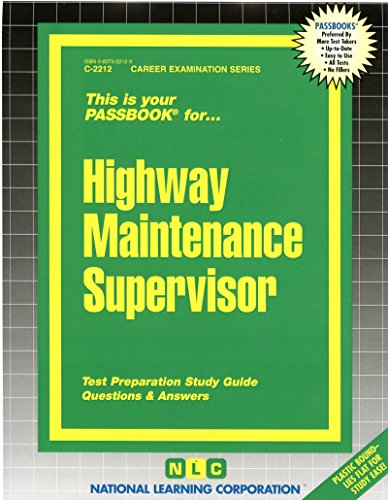 Pdf Test Preparation Highway Maintenance Supervisor(Passbooks) (Passbook Series)