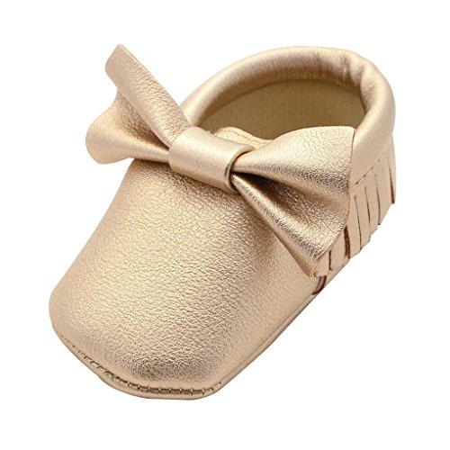 QHGstore Baby-Kleinkind-Schuhe mit bowknot Quasten Rutsch-Soles 13cm Rose Golden