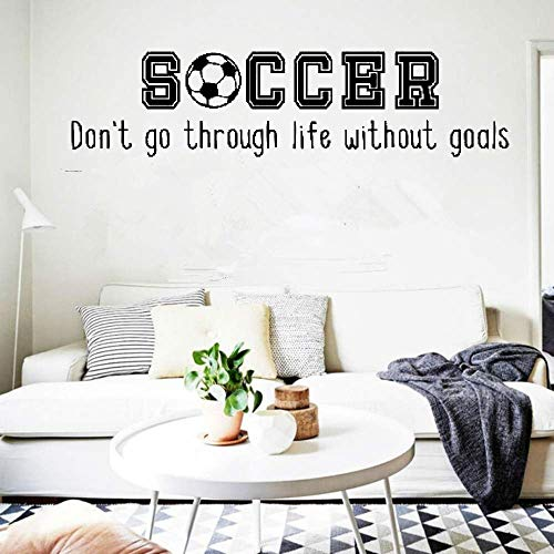Wall Sticker Removable Home Decor Wall Vinyl Decals Soccer Don't Go Through Life Without Goals ()