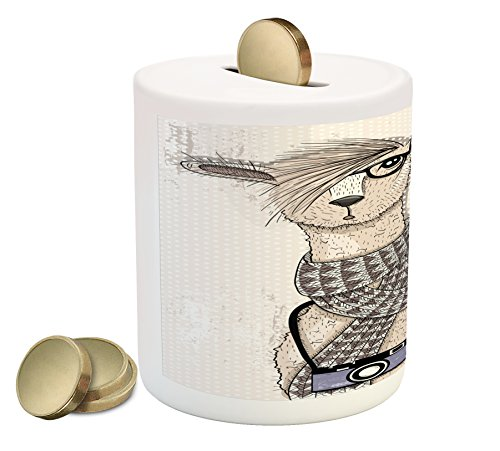 Ambesonne Animal Coin Box Bank, Llama with Camera Scarf and Glasses Hipster Animal on a Dotted Beige Background, Printed Ceramic Coin Bank Money Box for Cash Saving, Multicolor