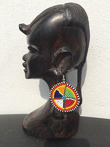 Boucles D'Oreilles Pendantes Perles Créoles Fermé MULTICOLORE MASAI mbili SISI Collection