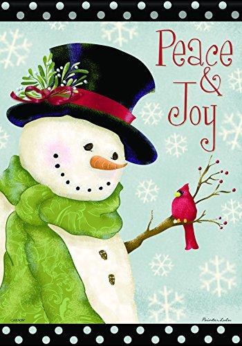 Peace & Joy Snowman Trends Classic Large Flag ()