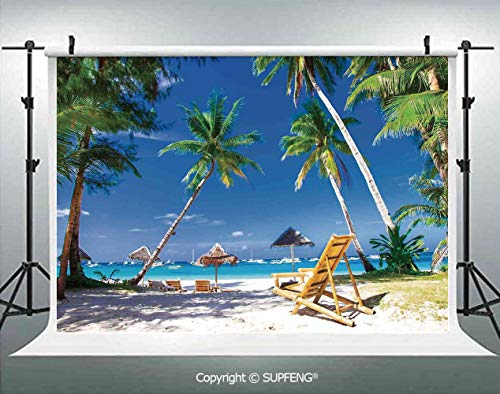 Background Sun Bed Under Palm Trees Tropical Oceanside in Boracay Island Image Print 3D Backdrops for Interior Decoration Photo Studio Props]()