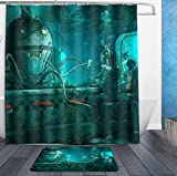 AMERICAN TANG Steampunk Octopus Video Game Art Nautical Shower Curtain Liner With Hooks and bath rug mat - Mildew Resistant Waterproof Polyester Fabric Bathroom Decor Set - 72x72/16x24