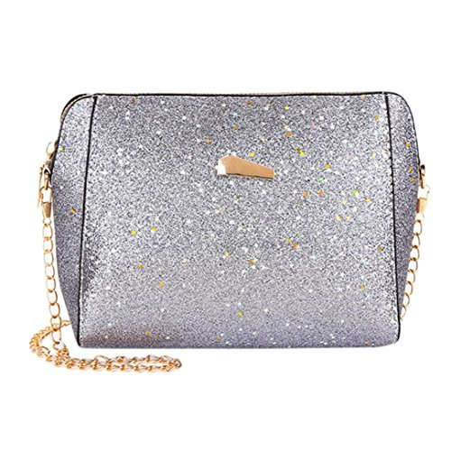Bag Color Silver Crossbody Messenger Pure Fashion Pocciol Bags Shoulder Red Bag Womens Sequins HpnAq1O