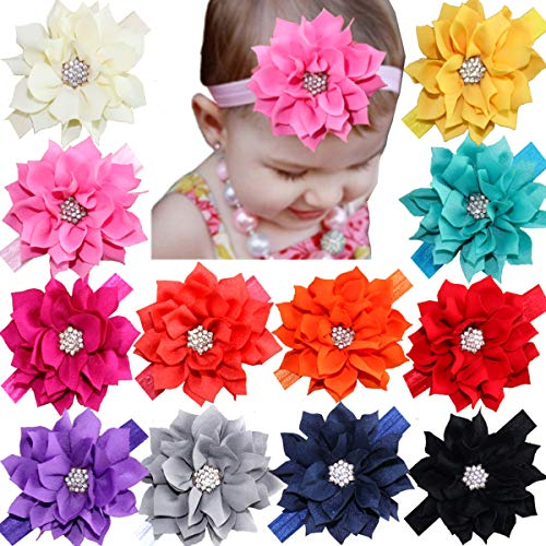 12Pcs Baby Headbands Flower Hairbands Hair Bows with Rhinestones for Baby Girls Toddlers Infant Newborns ()