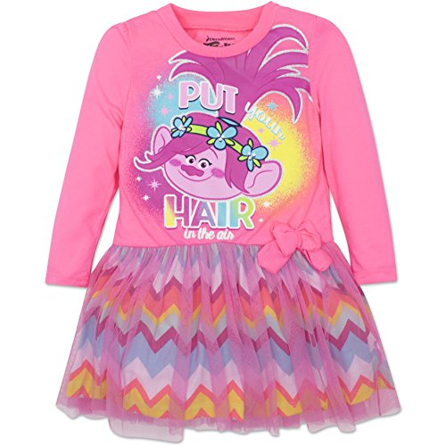 Toddler Girls' Trolls Poppy Pink Dress with Long Sleeves,2T ()