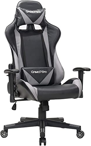 BERLMAN High Back PU Leather Swivel Gaming Chair with Adjustable Armrest Lumbar Support Headrest Racing Office Chair Black