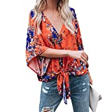 Software : Napoo-Women Blouse Womens Loose V Neck Floral Print Front Knot Bandage T-Shirt Tops (M, Orange)