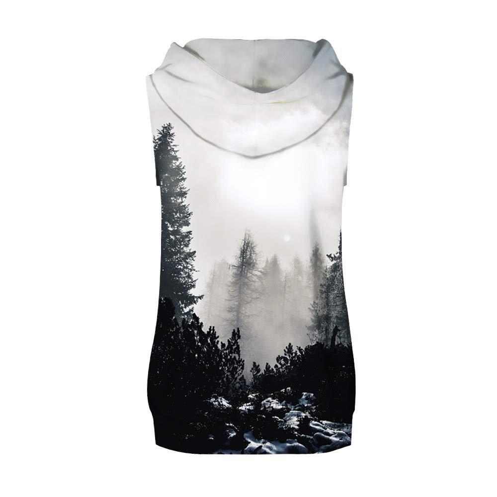 AopnHQ Mens Explosion Casual Print Hooded Sleeveless Vest